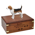 Wholesale Beagle Figurine Wood Urn with engraved front