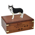 Wholesale Black & White Husky Figurine with Urn Base shown engraved