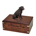 Wholesale Chocolate Labrador Retriever Figurine Wood Urn engraved on front