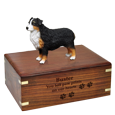 Wholesale Australian Shepherd Tricolor Figurine Wood Urn with engraved fron