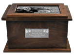 B&W photo & small text plaque shown on wood urn