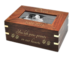 Wholesale Dog Urn: Perfect Wood Box with Photo Frame shown personalized
