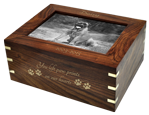 Gigantic dog urn shown personalized with photo and gold engraving