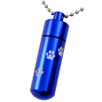 Blue pet urn cylinder shown engraved with paw print trail and ball chain