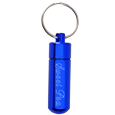 Blue aluminum urn keepsake keychain shown engraved with pet name