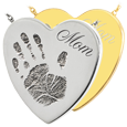 Wholesale B&B Heart Handprint Jewelry no chamber in silver and gold