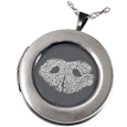 Wholesale Pet Print Jewelry: Sterling Silver Round Photo Locket- Noseprint
