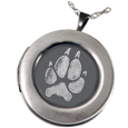 Wholesale Pet Print Jewelry: Sterling Silver Round Photo Locket- Pawprint